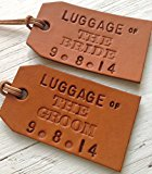 Traditional Style Luggage of the Bride, Luggage of the Groom Personalised Handmade Tan Leather Luggage Tag Set (His & Hers Wedding Gift)