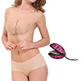 Self Adhesive Invisible Bra,summer's whisper Nylon Sexy Push up Drawstring Bra With Free Gift Box (B cup, Nude)