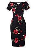 Retro Vintage Cocktail Prom Dress Off Shoulder Short Sleeve Size 16 BP0117-1