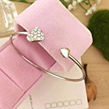 Yinew 1PC Bracelet Retro Full Burning Love Bracelet Open Bangle,Silver