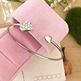 Yinew 1PC Bracelet Retro Full Burning Love Bracelet Open Bangle,Silver