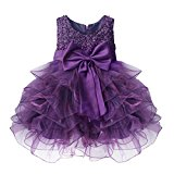 TiaoBug Baby Girls Princess Bowknot Dress Wedding Pageant Communion Party Dresses Purple 6-9 Months