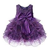 TiaoBug Baby Girls Princess Bowknot Dress Wedding Pageant Communion Party Dresses Purple 6-9 Months