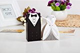 100pcsDouble-breasted Bride and Groom Wedding Gift Paper Boxes, Pack of 50 pairs of Bride and Groom