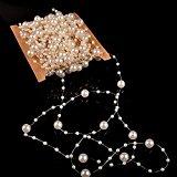 MyArmor Pearls Bead Chain Garland Wedding Flower Craft DIY Decor Accessory 10M Ivory 8+3mm Diamter Pearls For Centerpiece Table Decoration, Wedding Bridal Bouquet, Bride Headwear Headband ect.