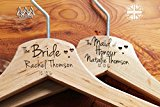 Personalised Hearts Bridesmaid Wedding Hanger in Wood - Hanger Engraved Wedding Gift Bride, Bridesmaids and more.