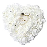 Bodhi2000® Romantic Rose Wedding Ring Cushion Heart Ring Pillow Jewelry Box