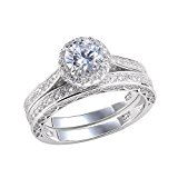Newshe Jewelry 2.4 Ct Round White Cz 925 Sterling Silver Wedding Band Engagement Ring Set Size O
