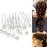 40pcs Wedding Bridal Pearl Clips, SUMERSHA Flower Crystal Hair Pins Hair Clips Bridesmaid