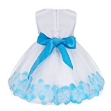 YiZYiF Petals Flower Girl Baby Sleeveless Wedding Formal Bridesmaid Party Princess Dress (12-18 Months, Blue)