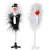 Pixnor 2pcs Bride and Groom Wedding Celebration Ostrich Feather Signing Pens