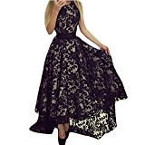 Arrowhunt Womens Round Neck Sleeveless Slim Party Cocktail Lace Maxi Dress Black M