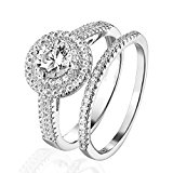 Pretty Jewellery Round Simulated Diamond Bridal Engagement Ring Set in Sterling Silver 14k White Gold Finish (L)