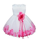 TiaoBug Baby Girls Formal Party Dress Flower Petals Tulle Wedding Dress Hot Pink 18-24 Months