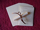 50 A6 Wedding favour table scrolls - Beautiful table decorations for your wedding breakfast in cream paper. RIBBON PURCHASED SEPARATELY - Please see our shop to purchase ribbons.