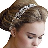 Stofirst Fashion Luxurious Women Girls Handmade Double Row Crystal Rhinestone Headband Headwear Bride Bridal Hairband Headdress Wedding Accessory with Satin Ribbon