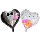 Sunshey Hearts Bride and Groom Dress Shape 18'' Thickened Foil Balloons Helium Balloons for Wedding Birthday Party Anniversary Decorations (Bride&Groom)