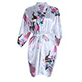 Elite99 Women's Sexy Robes Peacock and Blossoms Kimono Satin Nightwear Mini Dress (M, White)