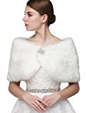 Clearbridal Women's Faux Fur Wrap Cape Stole Shawl Bolero Jacket Coat Shrug For Wedding Dress Winter Ivory, 17012