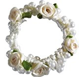Pearl & Rose Bun Ring Scrunchie Hair Garland Bridesmaid (Cream)