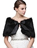 Clearbridal Women's Black Faux Fur Wrap Cape Stole Shawl Bolero Jacket Coat Shrug For Wedding Dress with Bows 17001