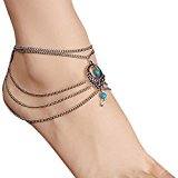 1PC Vintage Turquoise Jewelry Anklet Chain Tassel Bride Barefoot Sandals Beach Wedding Ankle Bracelet Crochet Anklets for Women