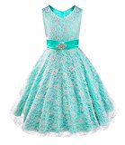 iEFiEL Flower Girls V-Neck Lace Wedding Party Bridesmaid Princess Dance Prom Dresses Turquoise 11-12 Years