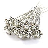 Bride Boutique Bridal Wedding Prom Silver Crystal Diamante & Pearl Flower Hair Pins Clips Grips (Small Flower)