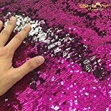 Shinybeauty Mermaid Sequin Fabric by The Yard Mermaid Sequin Reversible Sequin Fish Scale Fabric Fuchsia & Silver for DIY Bridal Gown Prom Evening Dress Custume, Magic Sequin Pillow Case, Cushion Cover(1 YARD )