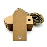100pcs Gift Tags/Kraft Hang Tags with Free Cut Strings for Gifts Crafts and Price Tags Scalloped Tag Style Color Rectangular With Heart