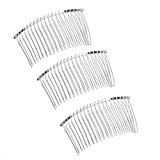 Tinksky 3pcs Bridal Wedding Veil Combs DIY Metal Wire Hair Clip Combs 7.8cm 20 Teeth Silver