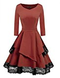 ACEVOG Women's Retro Floral Lace Long Sleeve Vintage Swing Bridesmaid Dress (Dark Brown M)