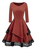 ACEVOG Women's Retro Floral Lace Long Sleeve Vintage Swing Bridesmaid Dress (Dark Brown M)