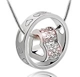 korpikus® Silver Colour Metal Jewelled Hearts Engraved Ring Necklace In White Organza Gift Bag