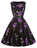 Women's Rockabilly Hepburn Style Full Skirt Dresses Party Wedding Dress(26,L)
