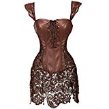 Kiwi-Rata Lady Faux Leather Lace Up Front Zipper Back Corset Goth Bustier (5XL/UK 20-22, Brown)