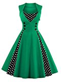 VKStar® Womens Vintage 1956's Inspired Button Swing Evening Dress Rockabilly Pinup Bridesmaid Cocktail Gowns Ball Gown Party Dress Green 4XL