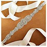 ShinyBeauty Ivory Crystal Pearl Wedding Bridal Dress Belt With Satin Sash Ribbon =18