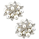 ElegantPark AE01 Fashion ivory Pearls Rhinestones Shoes Dress Hat Silver Shoe Clips 2 Pcs