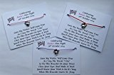 5 x Personalised Hen Night Wish Bracelets With Keyring, Hen Party Favours/Gifts (Pink)