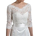 EllieHouse Women's Lace Wraps Wedding Bridal Bolero Jacket WJ19 Ivory Size 6
