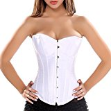 COSWE Women Satin Lace Up Boned Corset Bustier Basques Costume Plus Size 8-24