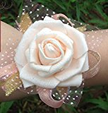 Calcifer®10pcs Wedding Bride Bridesmaid Exquisite Floral Wrist Flower Wrist Rose (Champagne)