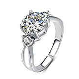 eManco Adjustable Cubiz Zircon Platinum Wedding Rings for Women Open Promise Copper Jewelry (Size: L)