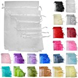 TtS 100pcs 5x7cm Organza Gift Bags Wedding Party Favour Jewellery Packing Pouches - White