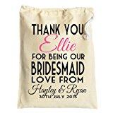 Medium Personalised bridesmaid or flowergirls wedding favour gift bag cotton drawstring