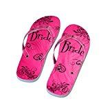 Pink Bride Bride Design Flip Flops Bride Dancing Flip Flops UK Shoe 4-8 / Euro 37-41 (XFFS036)