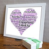 Personalised Gift, with FREE FRAME Wedding Bridesmaid love Heart Personalised Word Art Engagement Gift, Keepsake unique Print