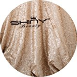ShinyBeauty Sequin-Fabric By The Meter Sequin Mesh Champagne 1 Meter 2 Ways Glitter Elastic Material Fabric for Sewing Sequin Wedding Dress/Sequin Tablecloth DIY