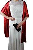 Lemandy Elegant Silk Stretch Satin Shawl for Bride/bridemaid Wedding Prom 02 (Red)